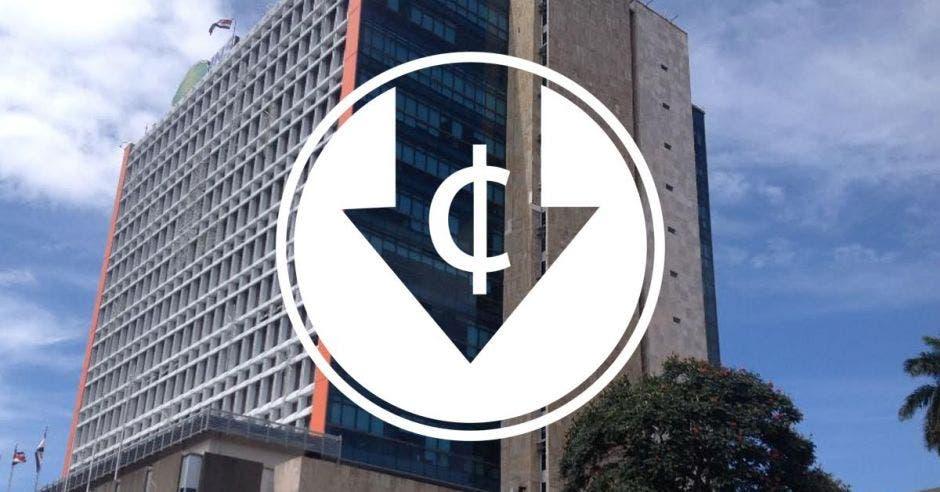 El edificio del INS con un símbolo cruzado de dinero y hacia la baja