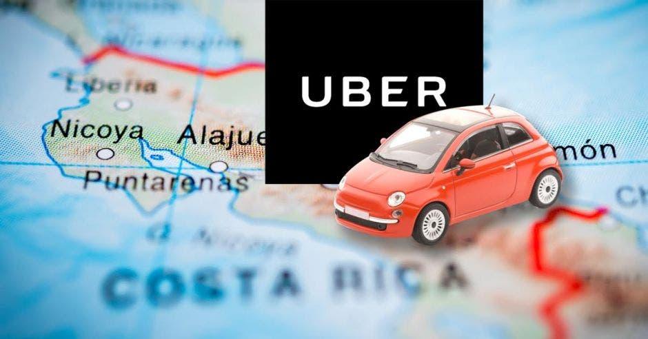 Un carro de uber encima de un mapa de Costa Rica