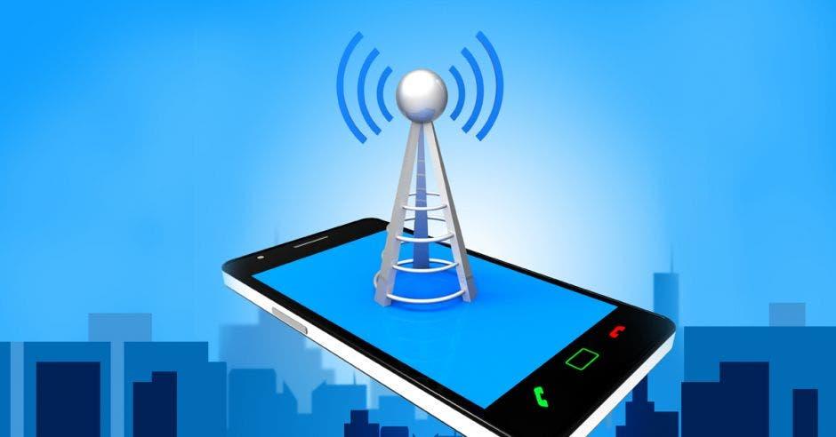 Una antena que representa la señal celular bloqueada