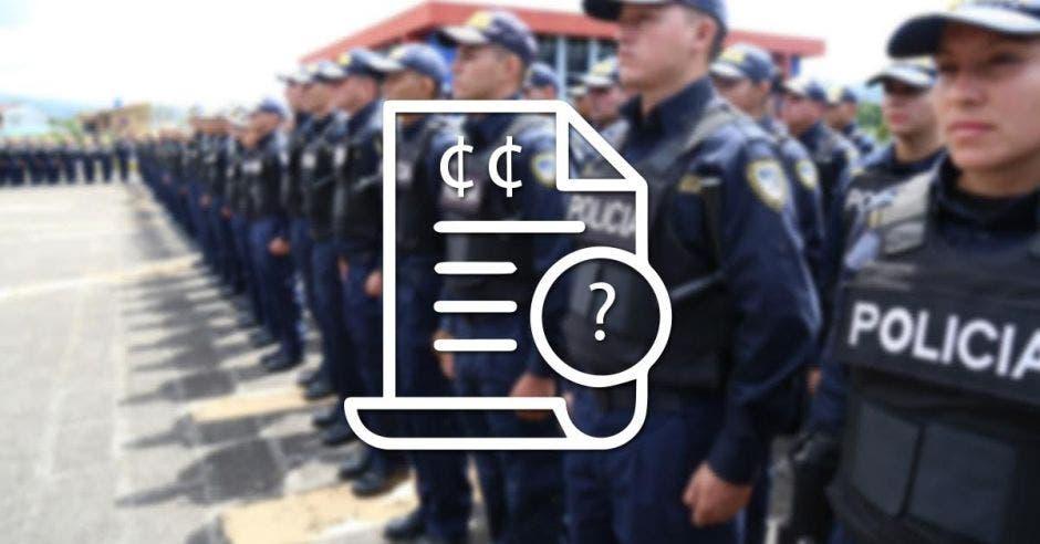 policías formados y un símbolo de dinero