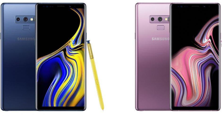Los dos modelos del celular, uno azul con el lapiz en amarilo y el otro en rosado