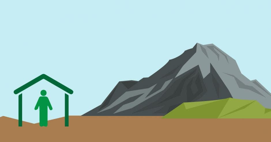 Una figura cerca de un volcán