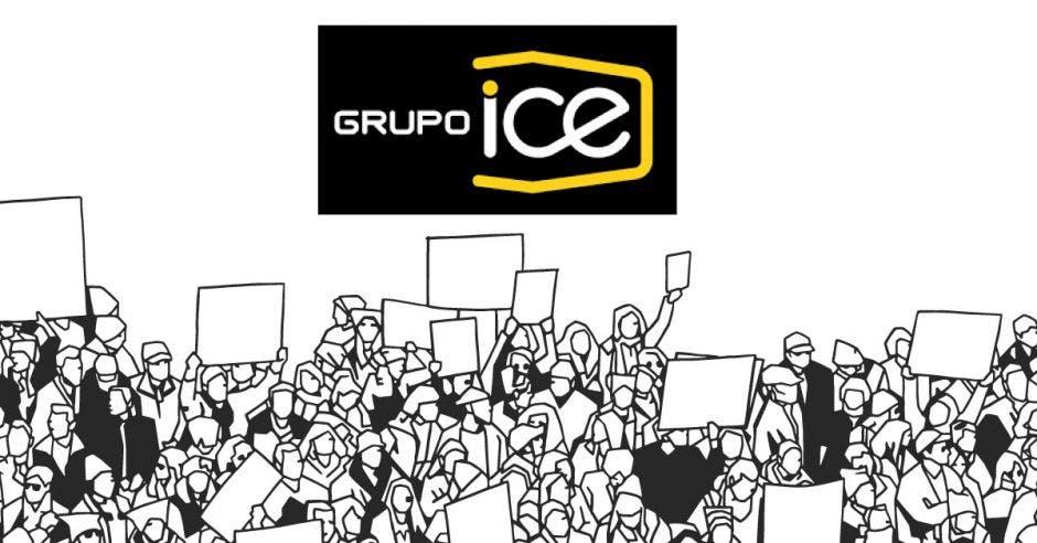 El logo del Grupo ICE sobre letreros de huelga