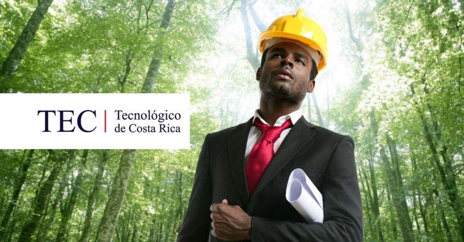 Logo del TEC sobre un bosque