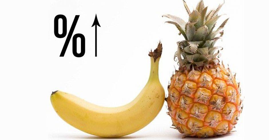 Un banano y una piña junto a un signo de porcentajes