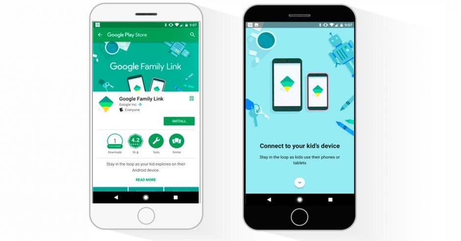 Dos celulares con imágenes de la aplicación