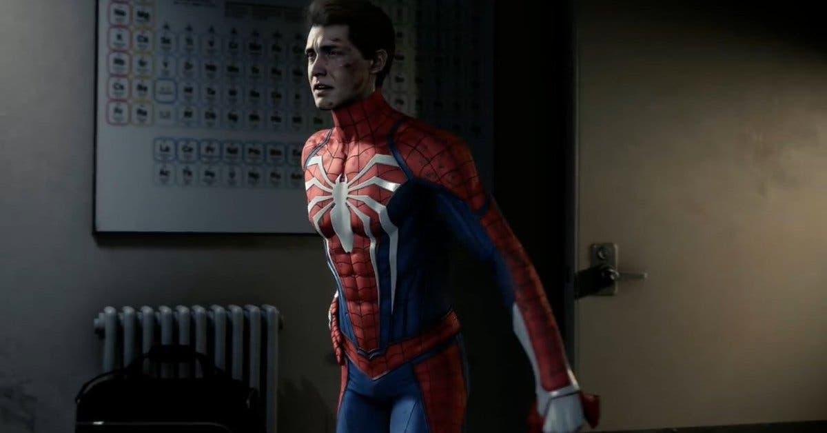 Una de las escenas del juego: Spiderman sin su máscara