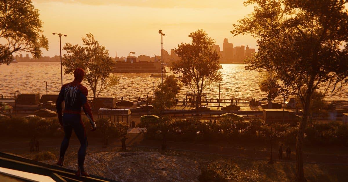 Spiderman admirando un atardecer frente a un río