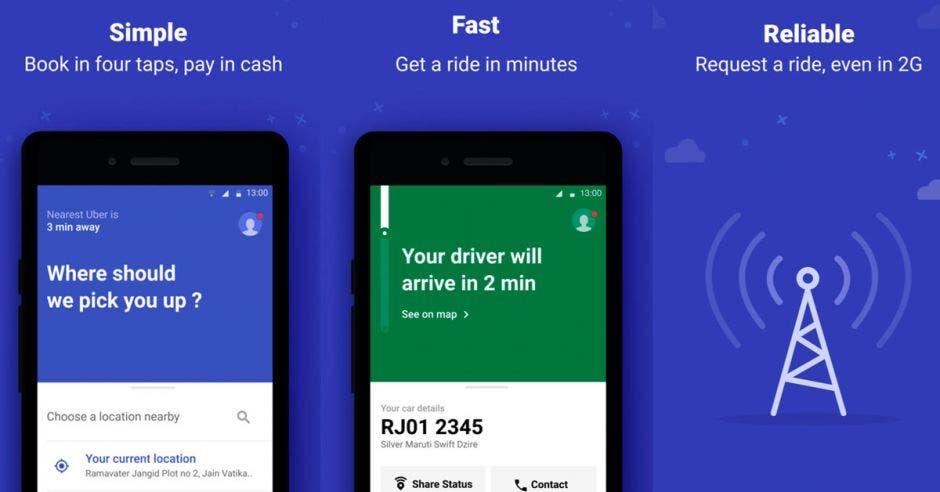 """Uber Lite: versión """"ligera"""" de la app de transporte ya está disponible en Costa Rica"""