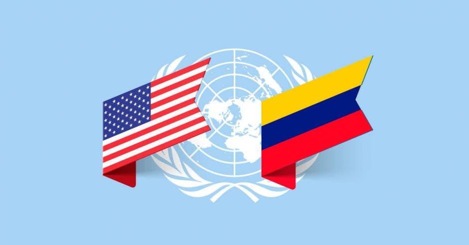 banderas Venezuela y Estados Unidos