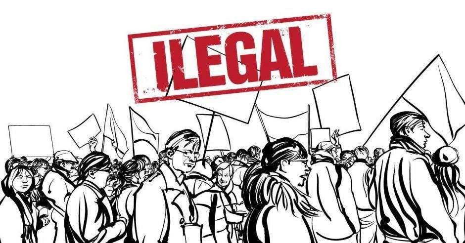 dibujo de personas en la huelga