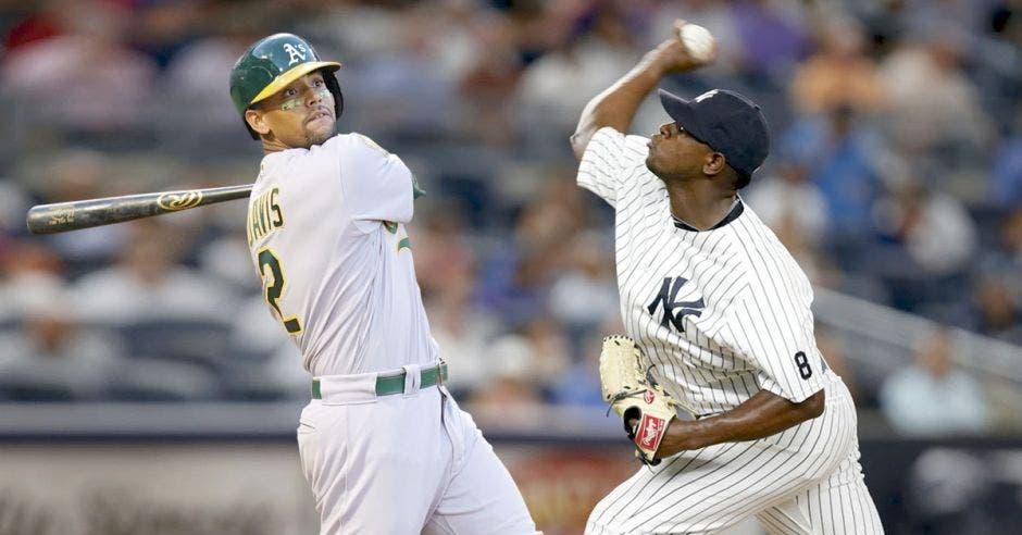 Khris Davis, bateador designado de los Atléticos, se voló la cerca en 48 oportunidades. Luis Severino, estelar lanzador de los Yankees, listo para detener la artillería de Oakland.