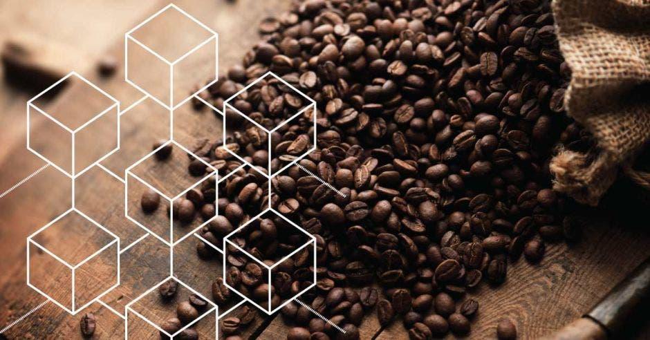 Imagen ilustrativa de blockchain y café