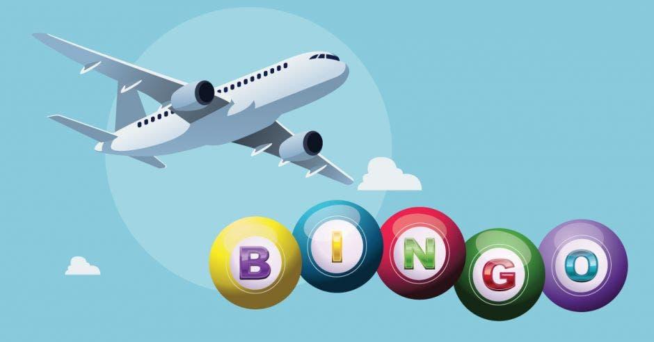 avión y la palabra bingo