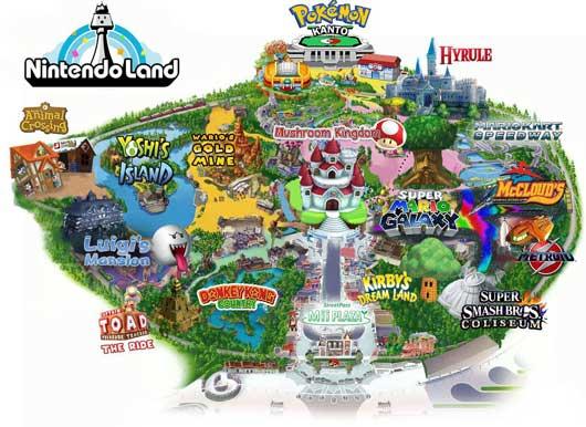 Mapa de las atracciones de Nintendo Land