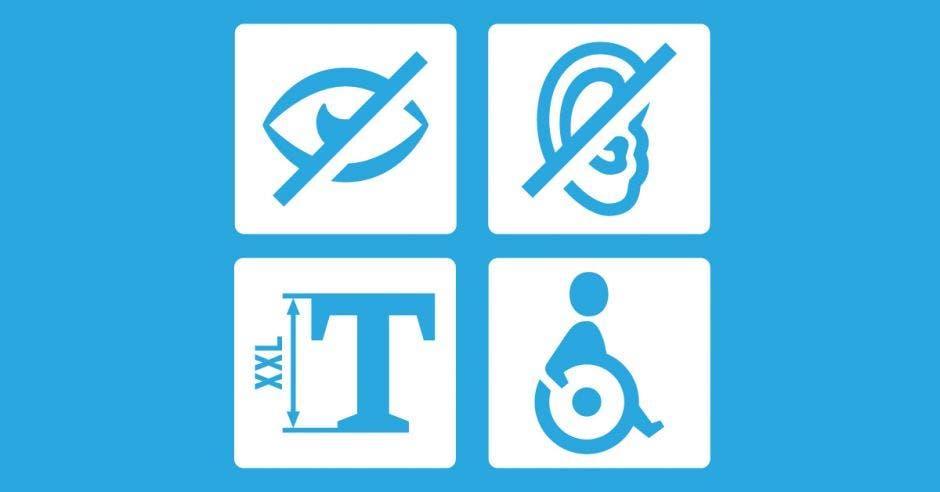Cuatro símbolos de discapacidad