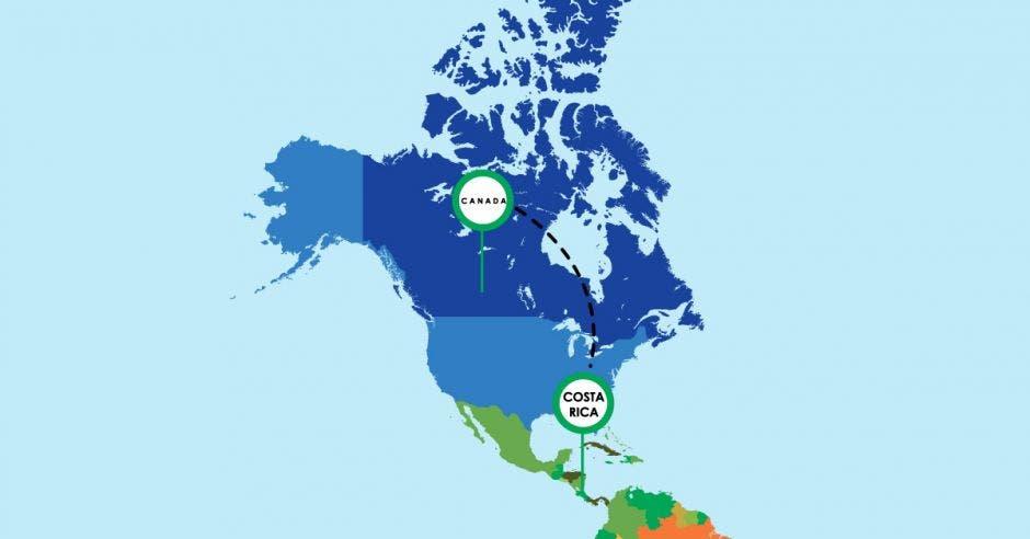 mapa de América, están señalados Costa Rica y Canadá