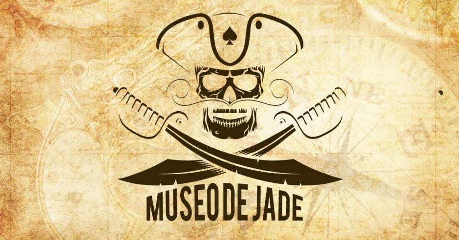 """Un dibujo ilustrado de un pirata con dos espadas y en medio de estas dice """"Museo de Jade"""""""