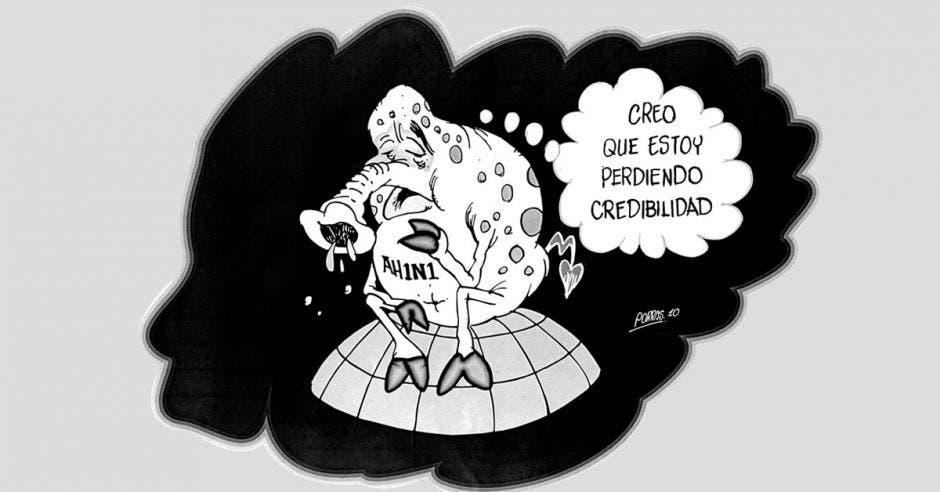 Caricatura de un virus del AH1N1 triste