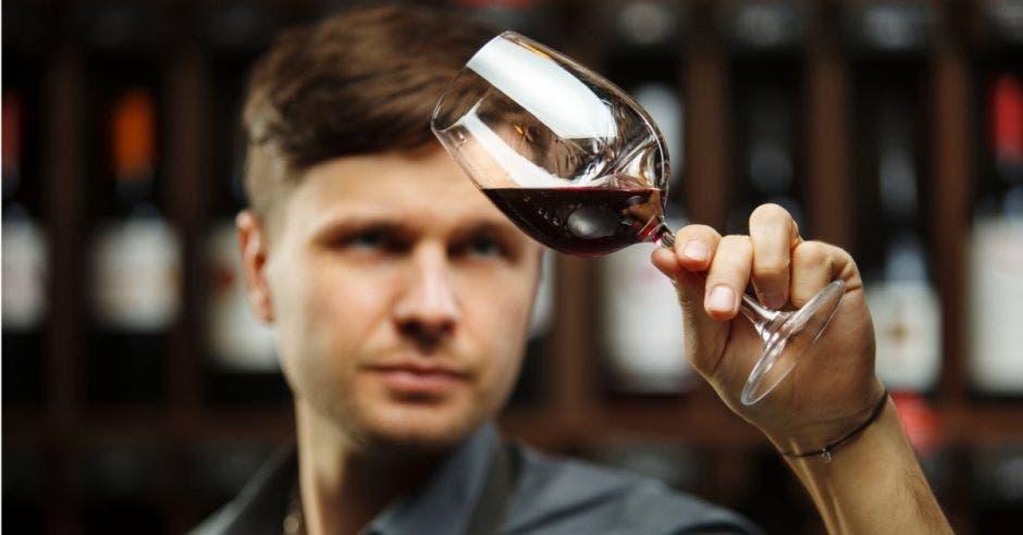 Un hombre con una copa de vino, admirando el color de este
