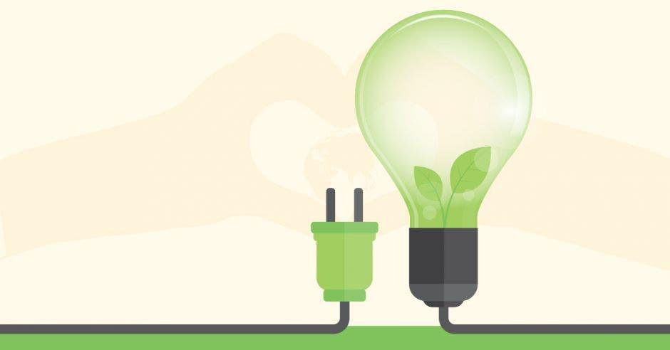 Un conector y un bombillo sobre fondo verde