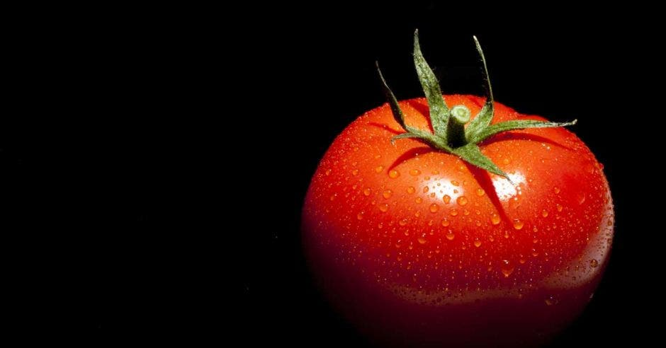 Un tomate mojado sobre un fondo negro