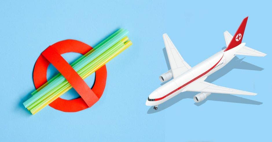 Unas pajillas sobr eun fondo celeste y un avión