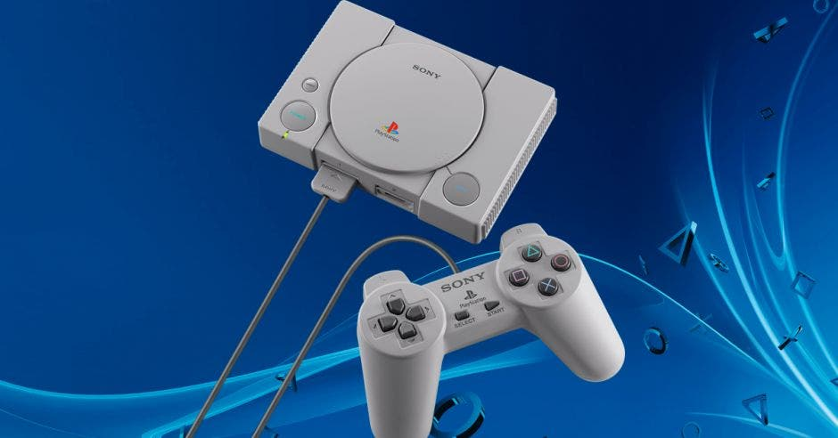 Un PlayStation sobre un fondo azul