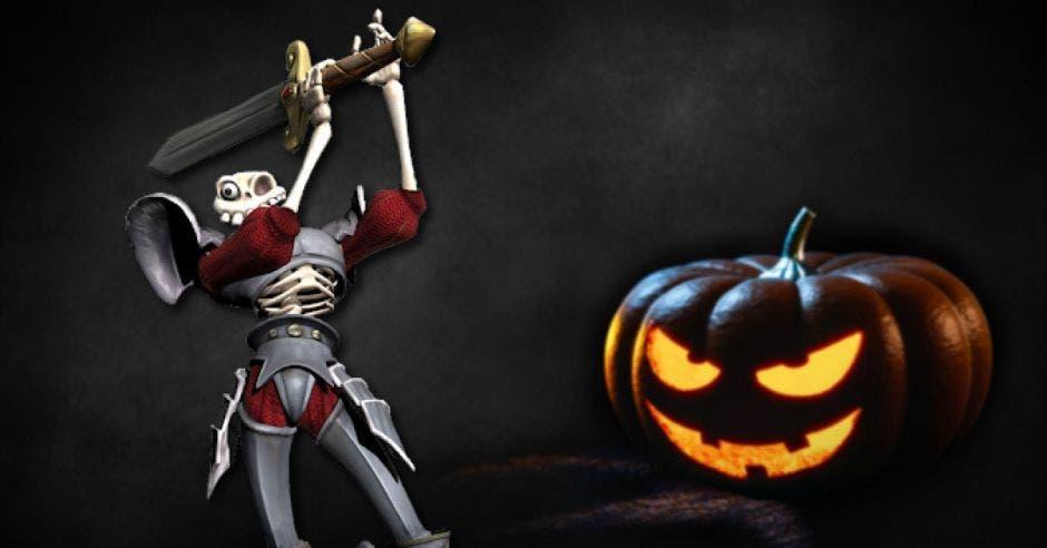 Medievil y una calabaza de Halloween