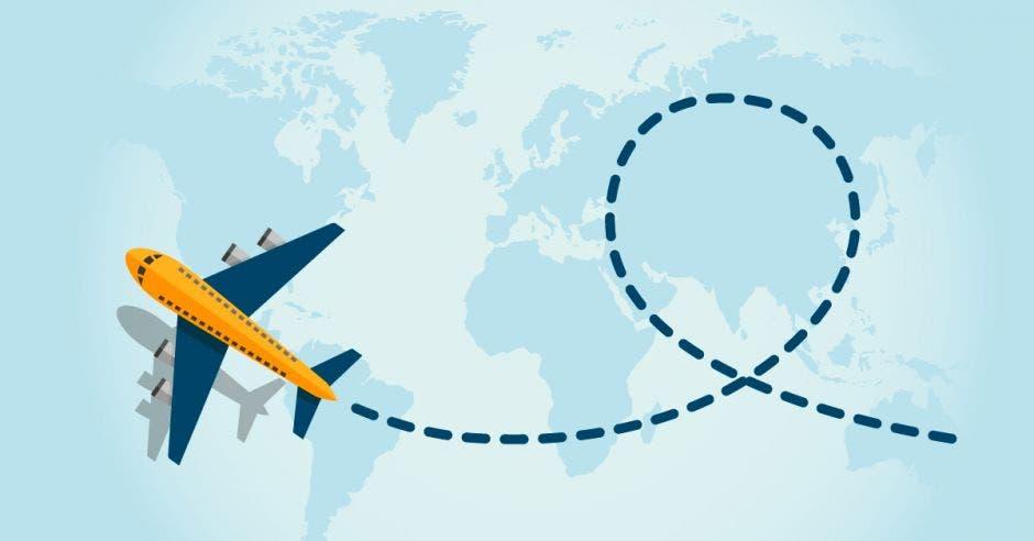 dibujo de avión sobre mapa mundi