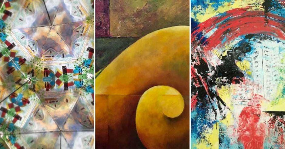 Tres de las obras que se presentan, bastante abstractas con variedad de colores
