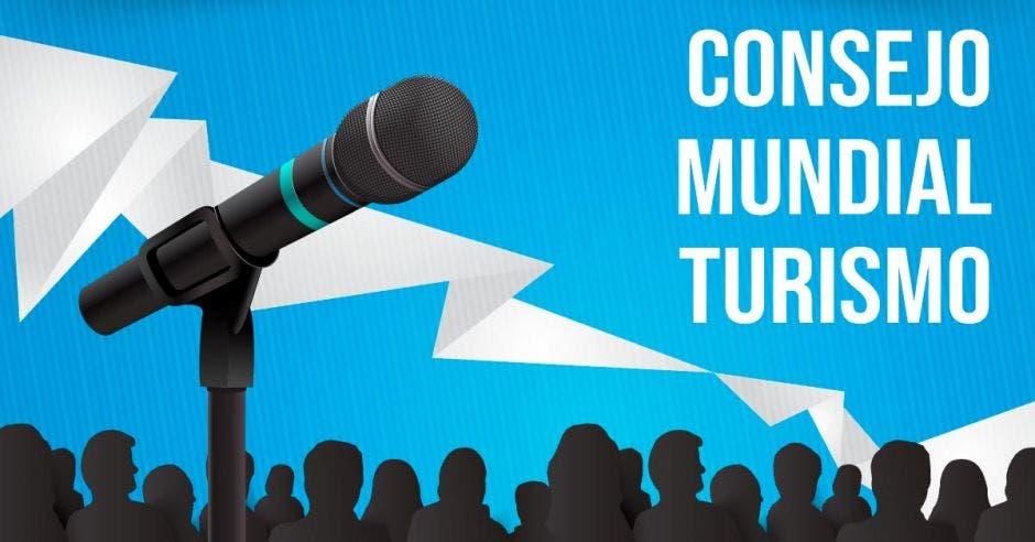 arte con un micrófono y unas letras que dice consejo mundial turismo