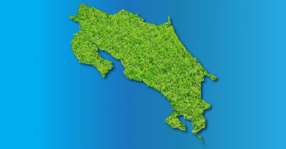 Mapa de Costa Rica en verde