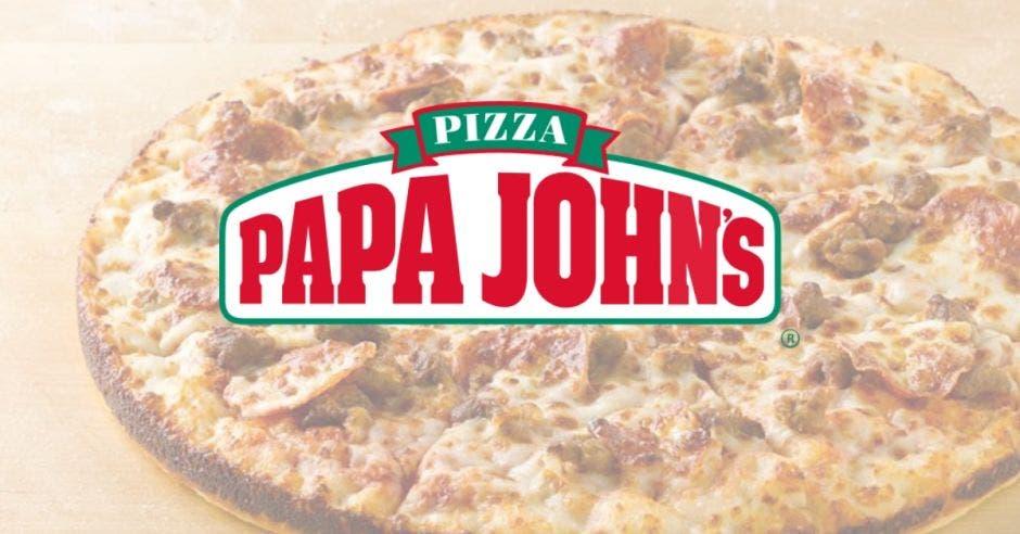 pizza y logo de la empresa