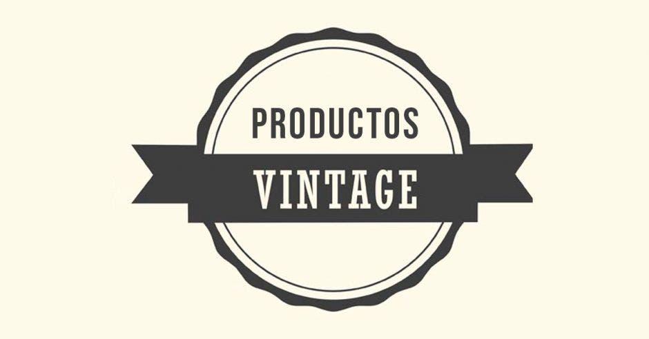 rótulo que dice productos vintage