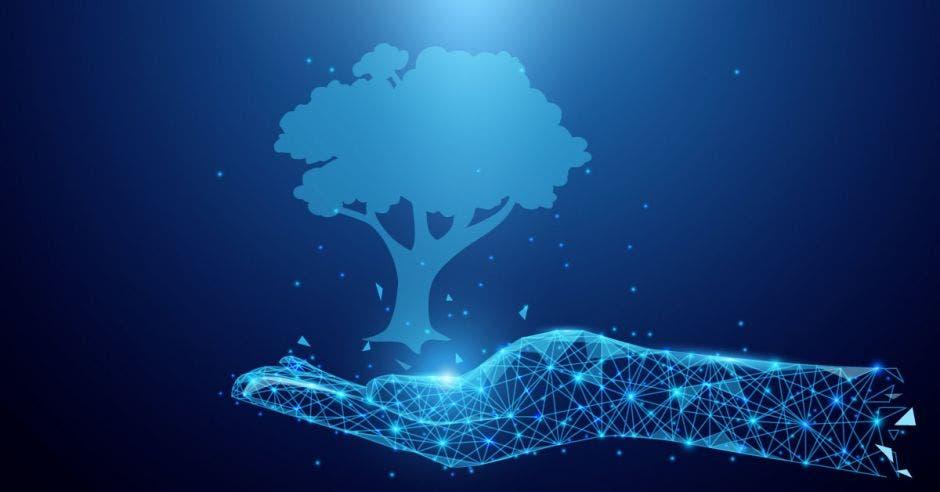 Mano tecnológica sosteniendo un árbol