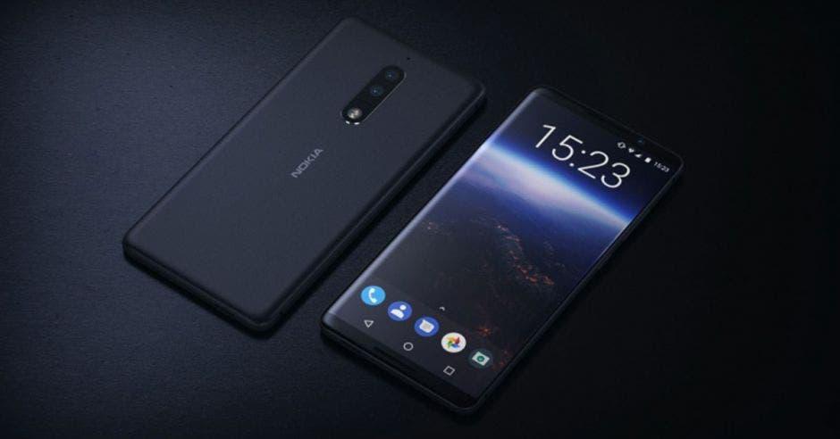 Dos celulares nokia sobre un fondo negro