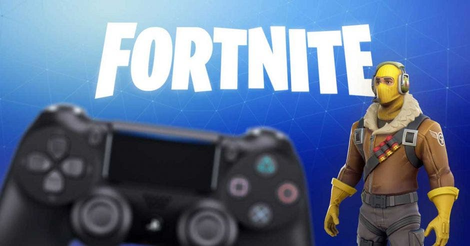 Un mando de playstation 4 junto al logo de Fortnite