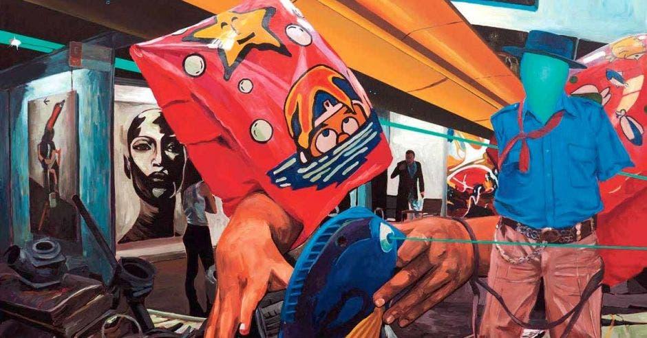 Una de las pinturas abstractas de la exposición, una mano saliendo de una bolsa con un maniquí de fondo