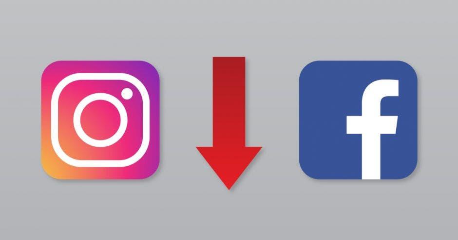 El logo de Instagram y Facebook junto a un flecha roja