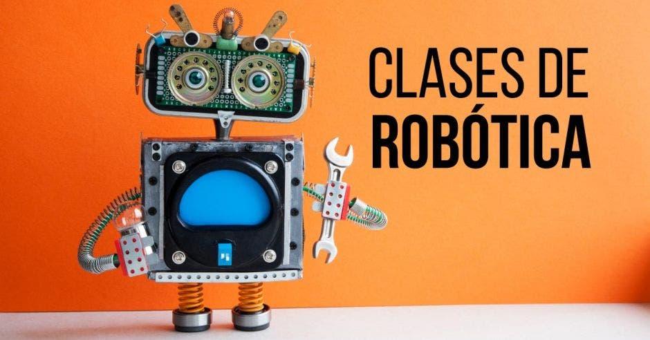 Un robot con una llave inglesa sobre un fondo anaranjado