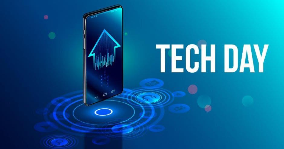 """Un teléfono inteligente y al lado en texto """"Tech Day"""""""