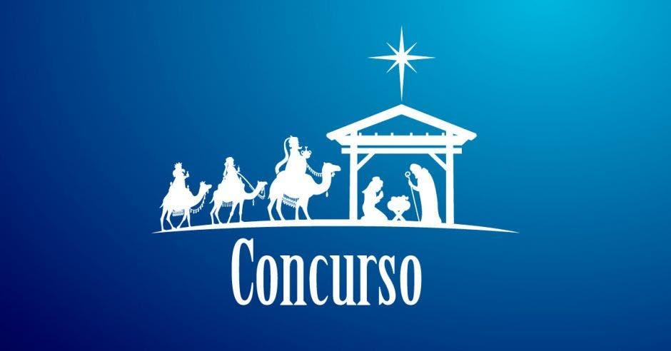"""Imagen de un portal navideño sobre fondo azul, abajo en letras las palabras """"Concurso"""""""