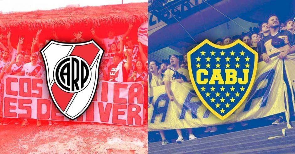 El escudo de River Plate junto al de Boca Juniors