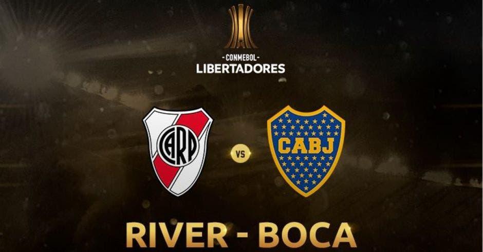 Los logos de Boca y River con el fondo café