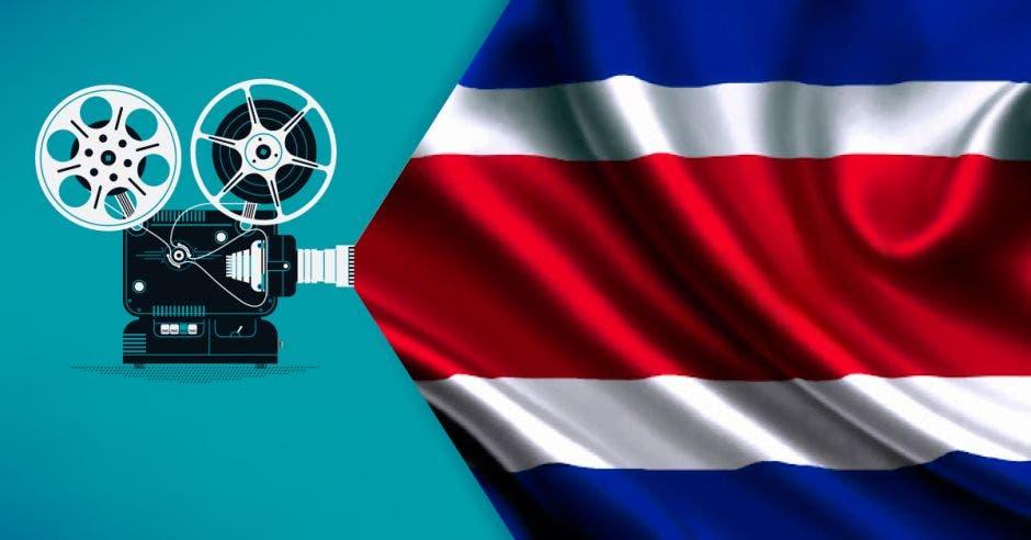 Proyector de cine proyectando una bandera de Costa Rica