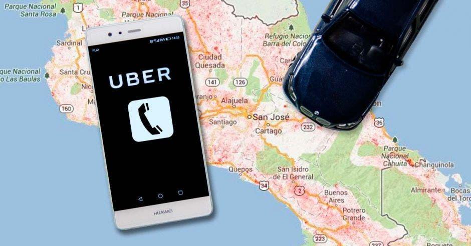 Un celular junto a un automóvil con la aplicación de Uber abierta