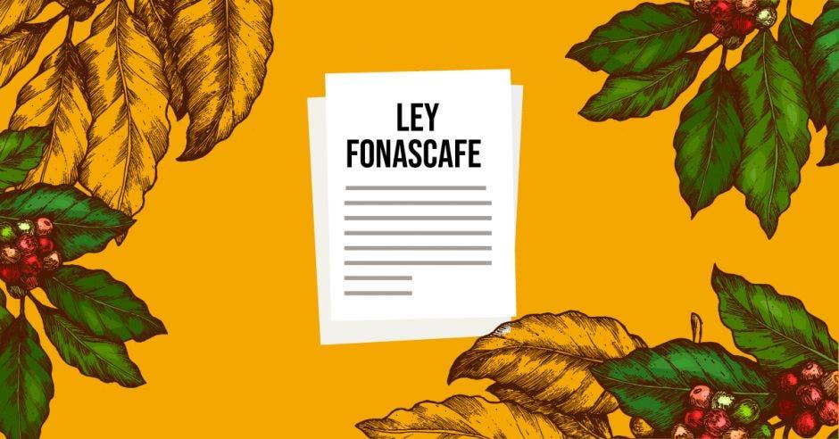 Documentos de la Ley Fonescafé sobre fondo amarillo rodeado de hojas de café.