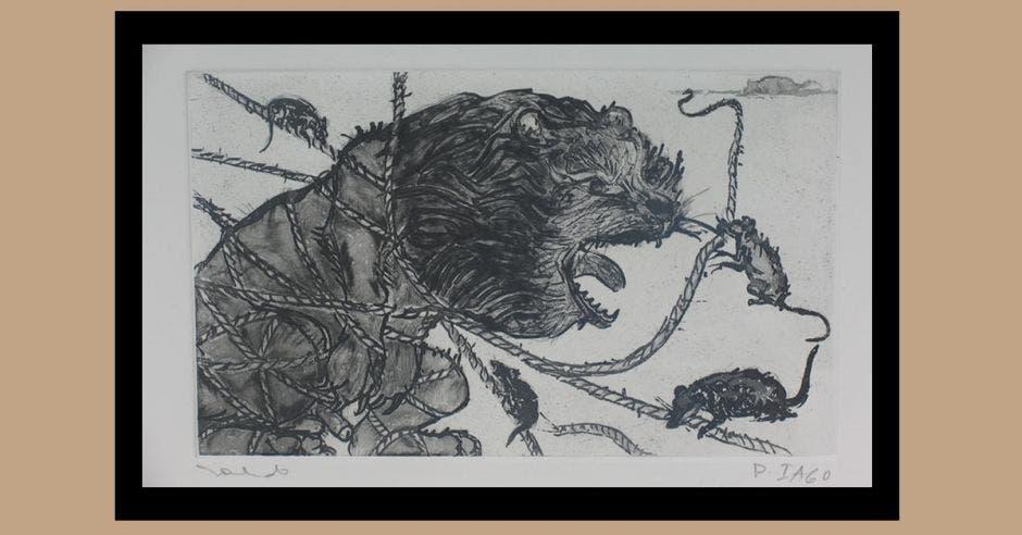 Grabado de Francisco Toledo sobre la fábula del león y el ratón.