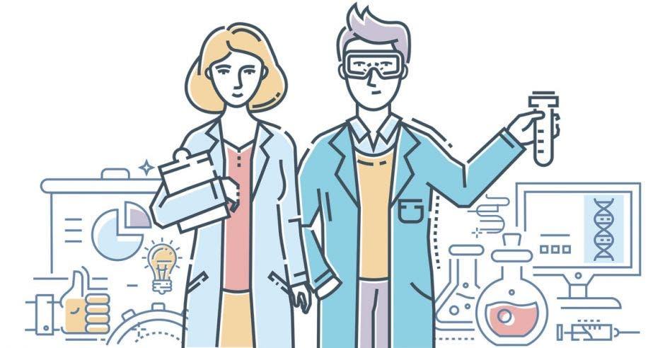mujer y hombre científicos